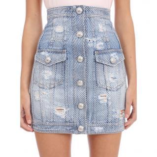 Balmain Distressed Denim Embellished High Waist Skirt