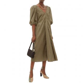 Ganni Green Gingham Cotton-blend Seersucker Dress