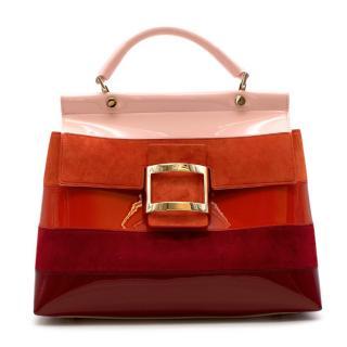 Roger Vivier Orange & Red Stripes Leather Viv' Cabas Small Bag