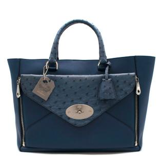 Mulberry Blue Ostrich & Leather Willow Tote