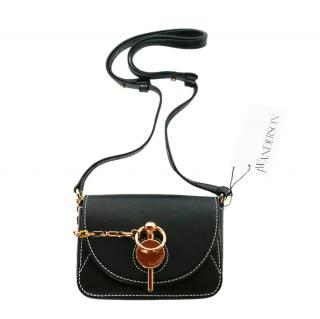 JW Anderson Black Leather Nano Keyts Crossbody Bag