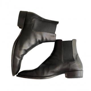 Saint Laurent Mens Black Leather Wyatt Ankle Boots