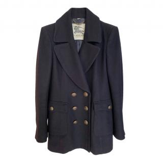 Burberry Wool & Cashmere Blend Navy Double Breasted Coat