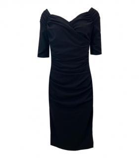 Dolce & Gabbana Black Ruched Off Shoulder Dress