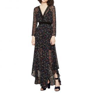 Maje Black Riane Chiffon Printed Dress