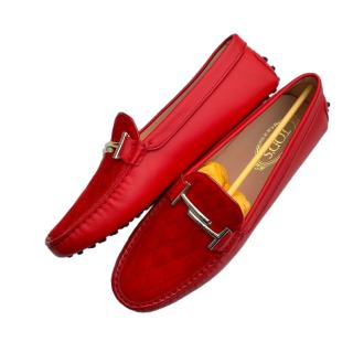 Tod's Red Suede Double T Loafers