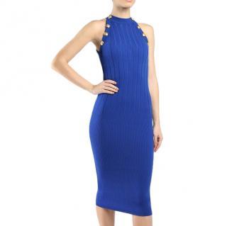 Balmain Blue Knit Halterneck Dress