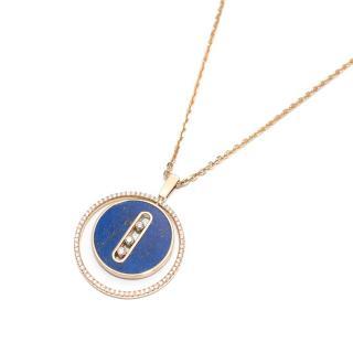 Messika Yellow Gold Diamond Necklace Lapis Lazuli Lucky Move