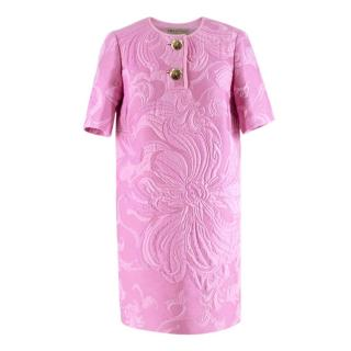 Emilio Pucci Pink Floral Textured Short Sleeve Dress