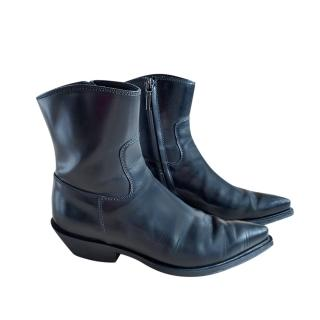Dolce & Gabbana Black Glossy Leather Ankle Boots