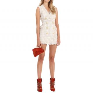 Balmain Cream Tweed Double Breasted Mini Dress