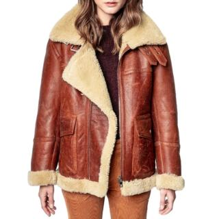 Zadig & Volatire Tan Shearling Lined Leather Jacket