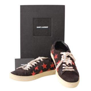 Saint Laurent Black/Red Suede Court Sneakers