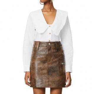 Ganni Distressed Leather Mini Skirt