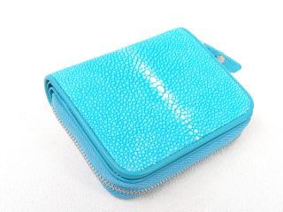 Hidetoshi Blue Stingray Zip-Around Wallet