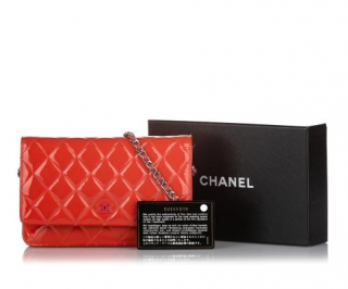 Chanel Red Patent Leather Quilted Wallet on Chain