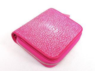 Hidetoshi Pink Stingray Zip-Around Wallet