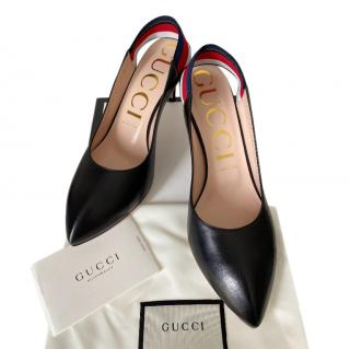 Gucci Black Slingback Sylvie Pumps