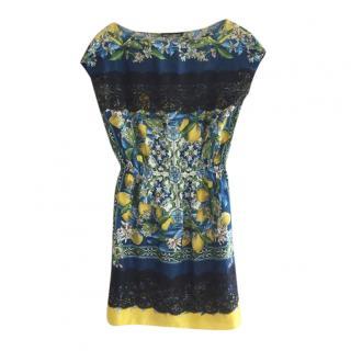 Dolce & Gabbana Lemon Mosaic Printed Silk Lace Trim Tunic Dress
