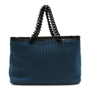 Bottega Veneta Blue Leather Intrecciato Shoulder Bag