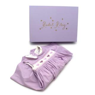 Rachel Riley Purple Striped Hand Embroidered Cotton Dress