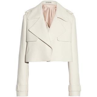 Balenciaga ivory basketweave crepe jacket