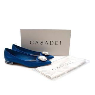 Casadei Blue Patent Leather Crystal Embellished Flats