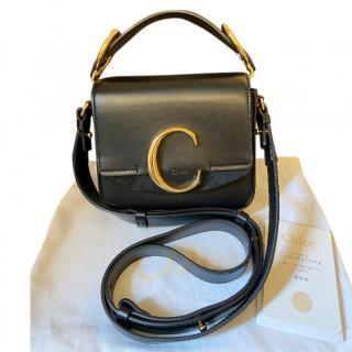 Chloe Black Leather Mini C Top Handle Bag