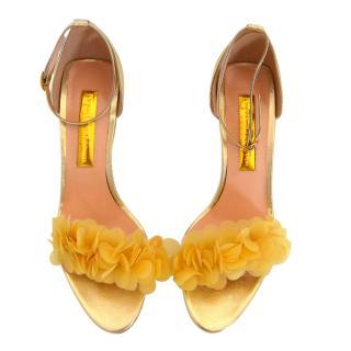 Rupert Sanderson Platinum Leather Floral Applique Sandals