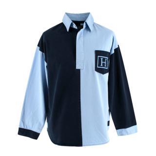 Hackett Blue Cotton Canvas Two-Tone Polo Shirt