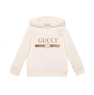 Gucci Ivory Children's sweatshirt with Gucci logo