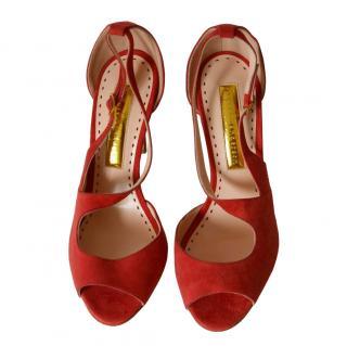 Rupert Sanderson Red Suede Cut-Out Sandals