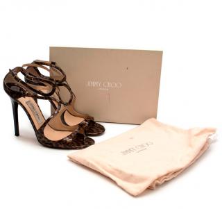 Jimmy Choo Leopard Print Patent Leather Lance Sandals