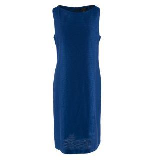 St John Blue Tweed Midi Dress