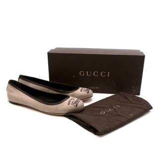 Gucci Cream Canvas Made in Italy Print Ballerina Flats