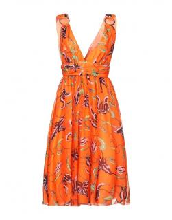 Fausto Puglisi Orange Printed Silk Chiffon Dress