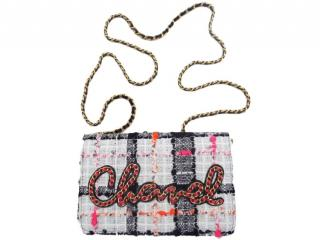 Chanel Tweed Chain Logo Wallet On Chain