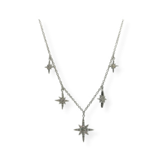 Bespoke 18ct White Gold Diamond Star Necklace