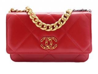 Chanel 19 Red Lambskin Wallet on Chain