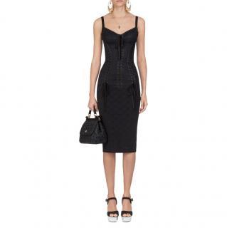 Dolce & Gabbana Black Jacquard Corseted Lace-Up Dress