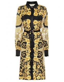 Versace Black & Gold Baroque Print Silk Shirt Dress
