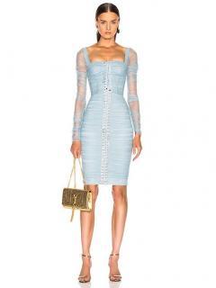 Dolce & Gabbana Blue Fitted Bustier Midi Dress