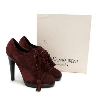 Yves Saint Laurent Burgundy Suede Lace-up Ankle Boots