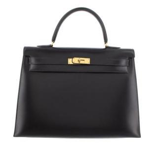 Hermes Black Box Calfskin Kelly Sellier 35 GHW