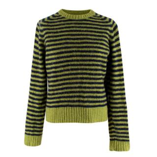 You Must Create Green & Blue Striped Wool Knit Sweater