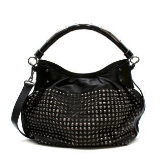 Burberry Black Lambskin Studded Shoulder Bag