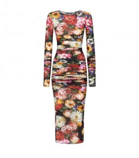 Dolce & Gabbana Floral Print Fitted Ruched Midi Dress