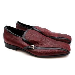 Prada Red Embossed leather Vintage Loafers