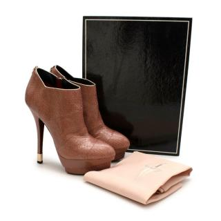Cesare Paciotti Pink Snakeskin Platform Ankle Boots