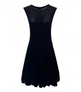 Alaia Black Sleeveless Knit Skater Dress